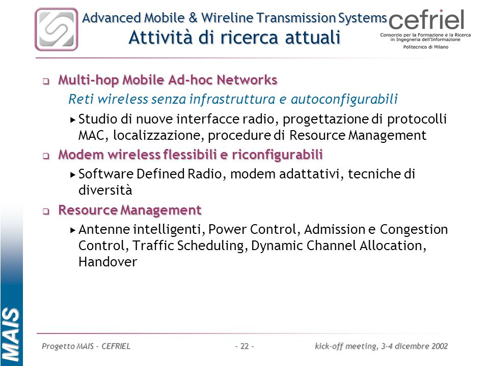 Multi-hop Mobile Ad-hoc Networks