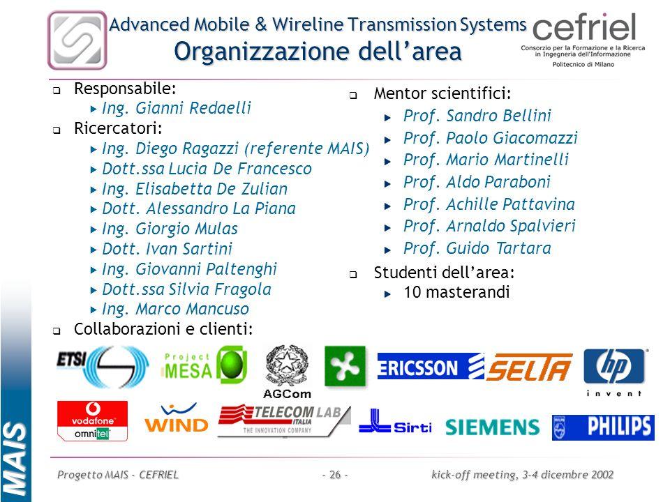 Advanced Mobile & Wireline Transmission Systems Organizzazione dell'area