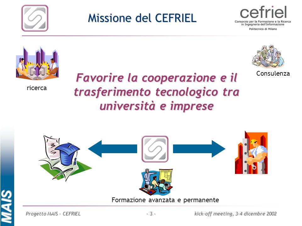 Missione del CEFRIEL Consulenza. Favorire la cooperazione e il trasferimento tecnologico tra università e imprese.