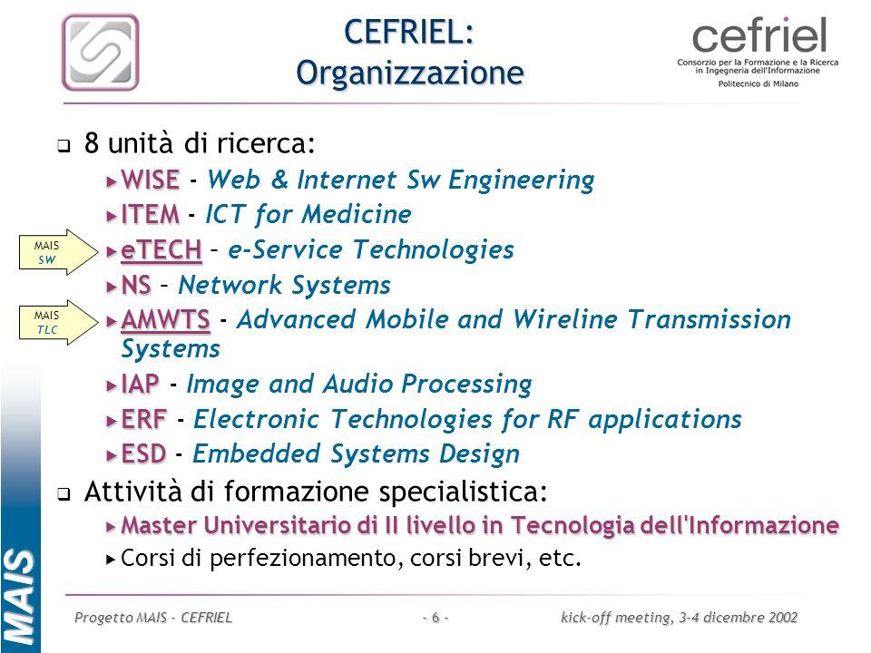 CEFRIEL: Organizzazione
