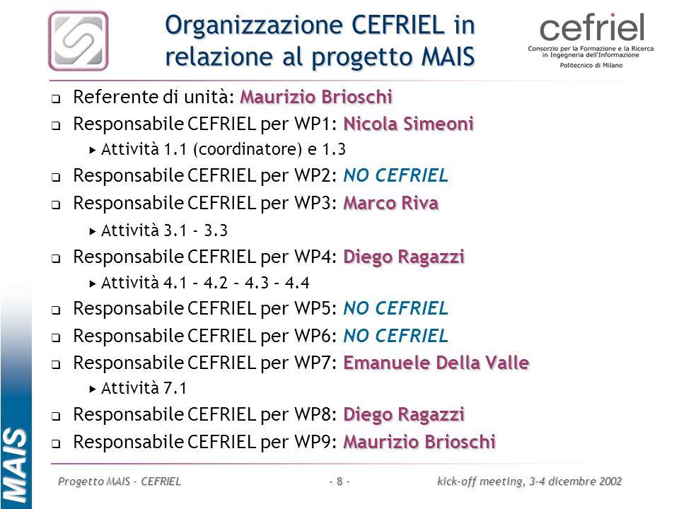 Organizzazione CEFRIEL in relazione al progetto MAIS