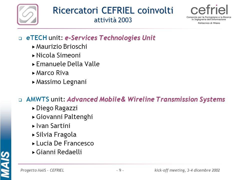 Ricercatori CEFRIEL coinvolti attività 2003