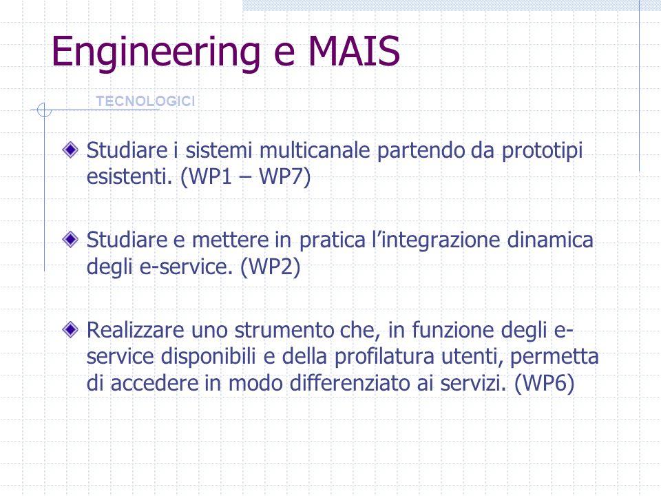 Engineering e MAIS TECNOLOGICI. Studiare i sistemi multicanale partendo da prototipi esistenti. (WP1 – WP7)