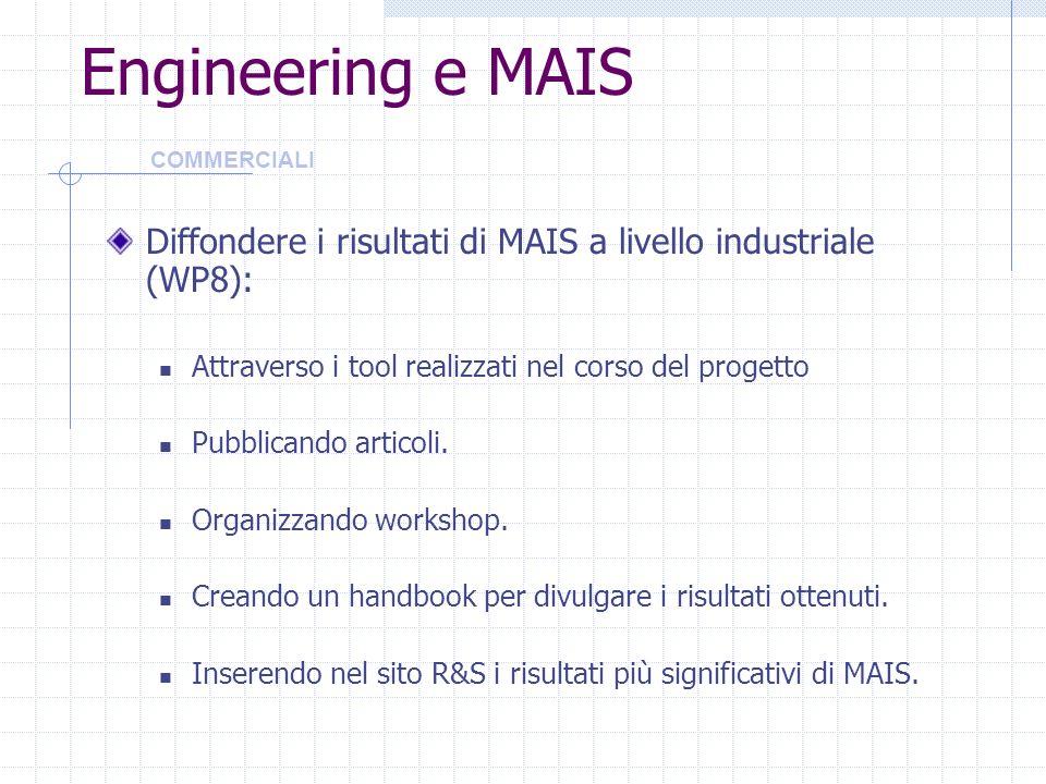 Engineering e MAIS COMMERCIALI. Diffondere i risultati di MAIS a livello industriale (WP8): Attraverso i tool realizzati nel corso del progetto.