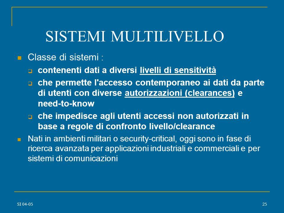SISTEMI MULTILIVELLO Classe di sistemi :
