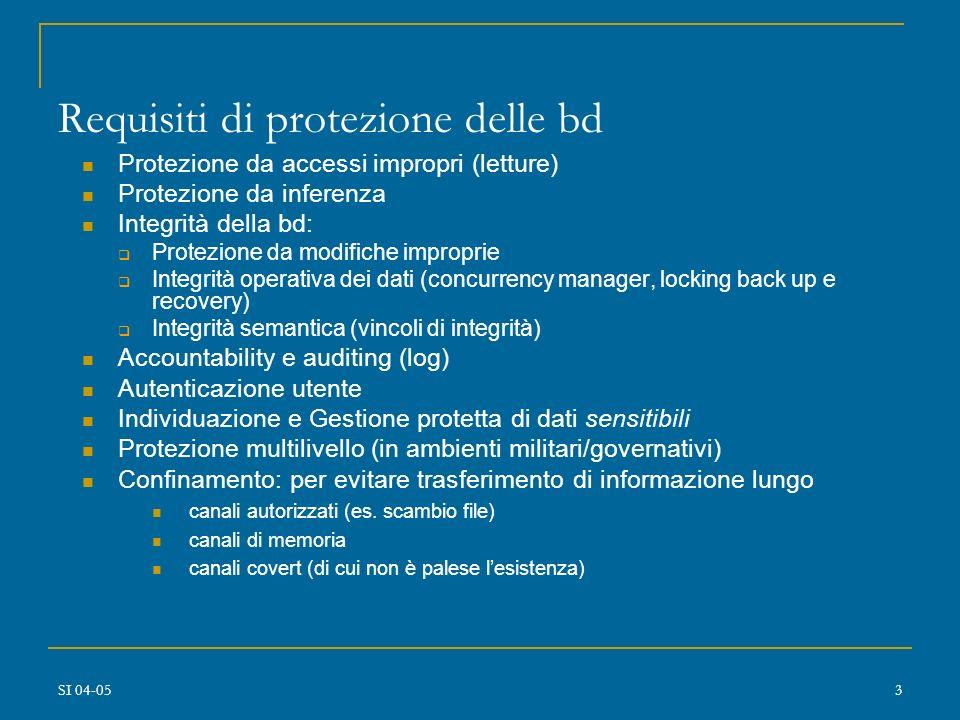 Requisiti di protezione delle bd