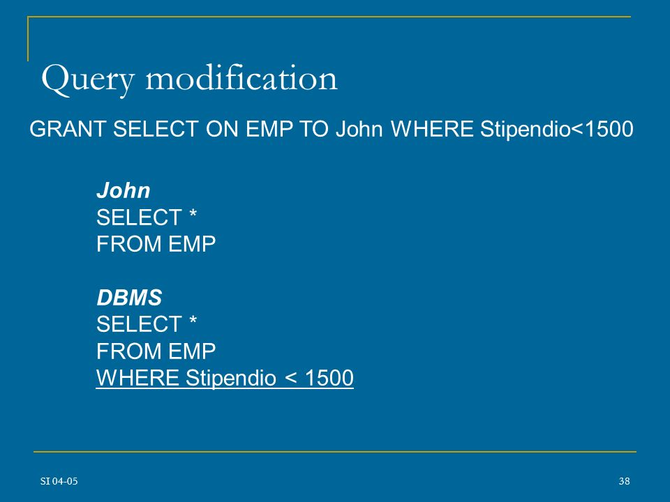 Query modification GRANT SELECT ON EMP TO John WHERE Stipendio<1500