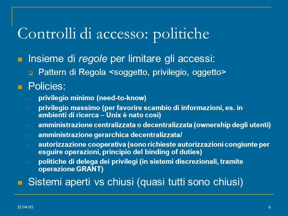 Controlli di accesso: politiche