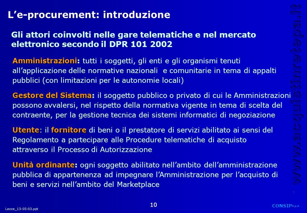 L'e-procurement: introduzione