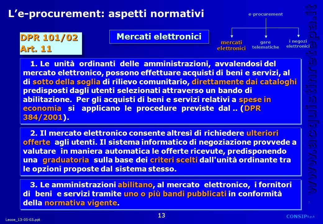 L'e-procurement: aspetti normativi