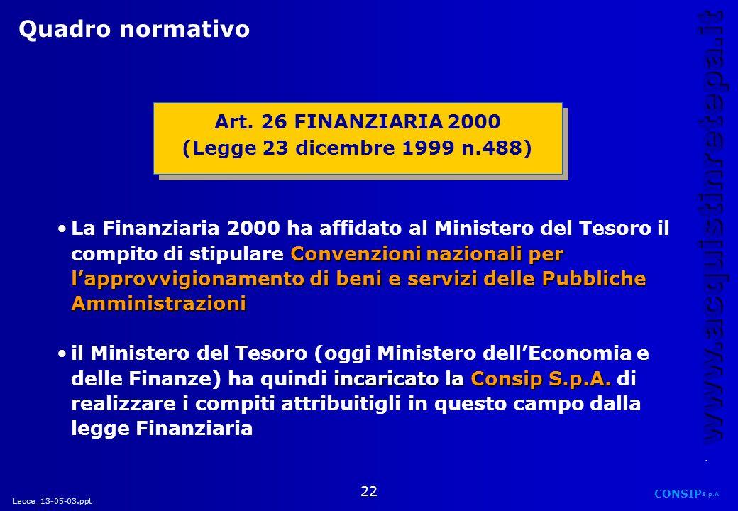 Quadro normativo Art. 26 FINANZIARIA 2000