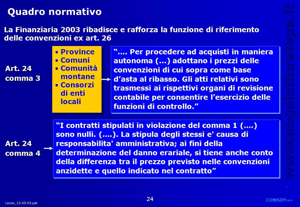 Quadro normativo La Finanziaria 2003 ribadisce e rafforza la funzione di riferimento delle convenzioni ex art. 26.