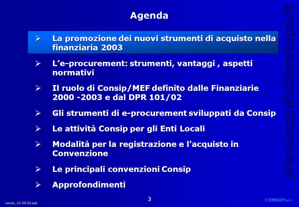 Agenda La promozione dei nuovi strumenti di acquisto nella finanziaria 2003. L'e-procurement: strumenti, vantaggi , aspetti normativi.