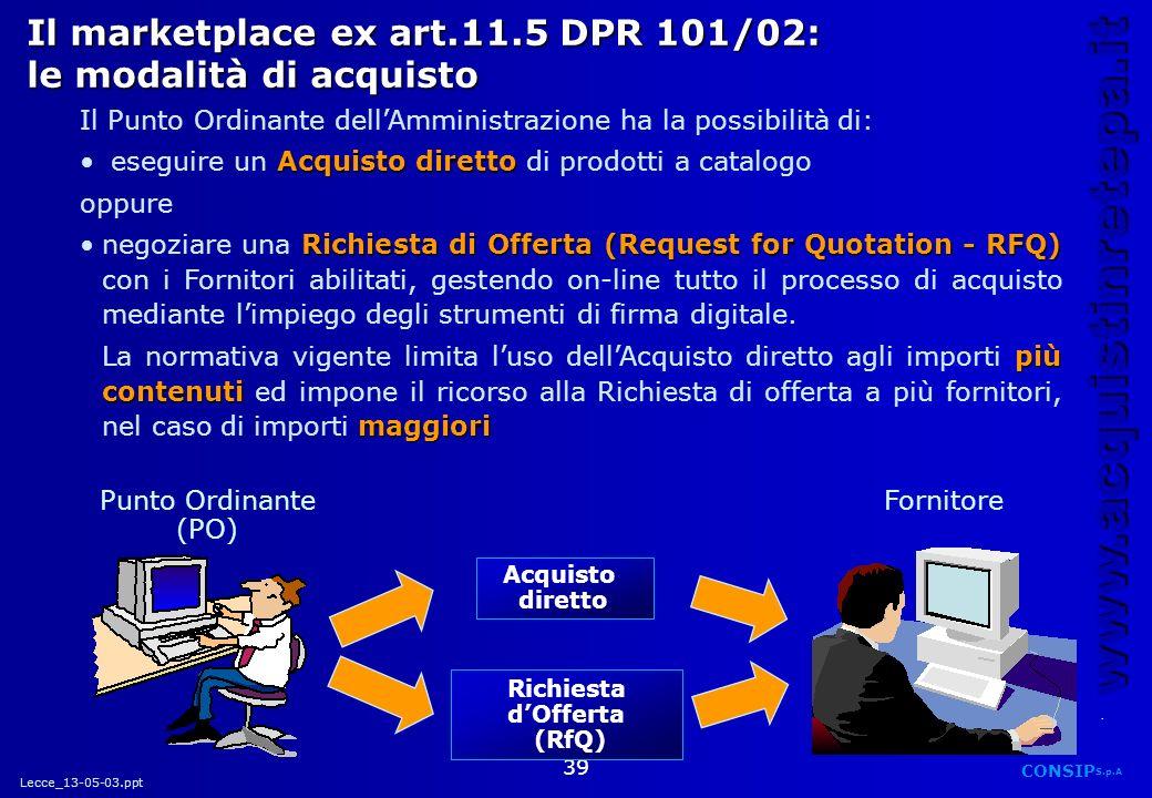 Il marketplace ex art.11.5 DPR 101/02: le modalità di acquisto