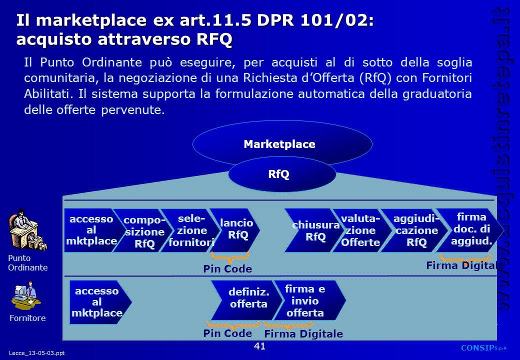 Il marketplace ex art.11.5 DPR 101/02: acquisto attraverso RFQ