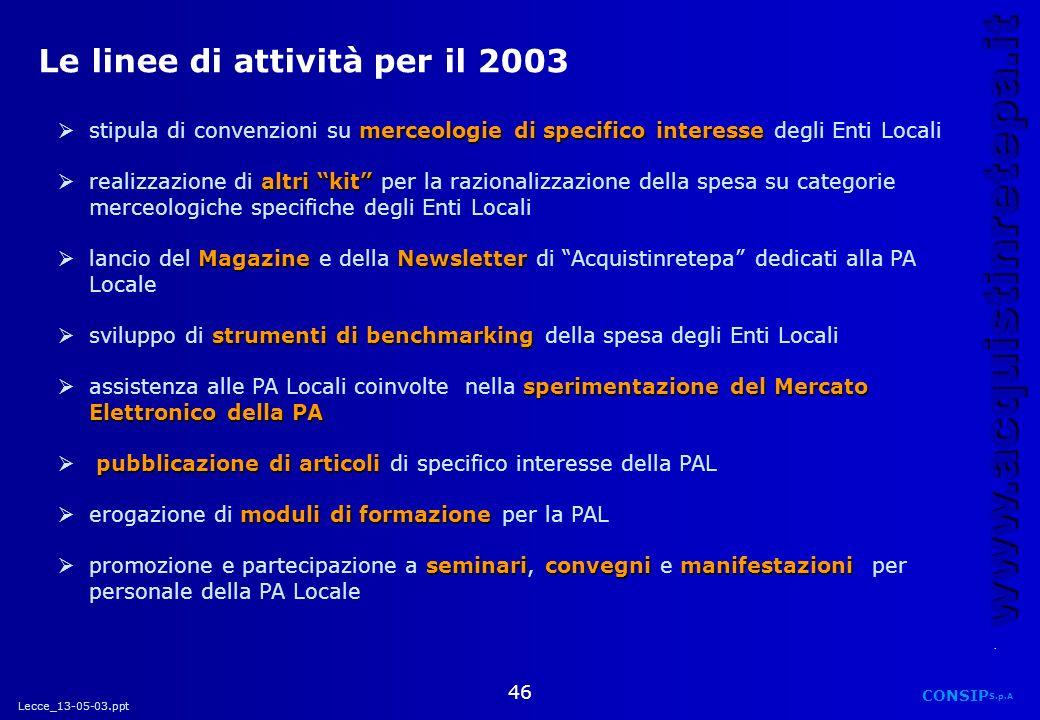 Le linee di attività per il 2003
