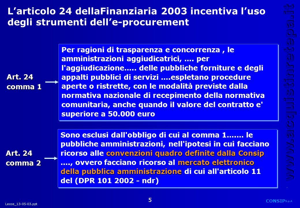 L'articolo 24 dellaFinanziaria 2003 incentiva l'uso degli strumenti dell'e-procurement