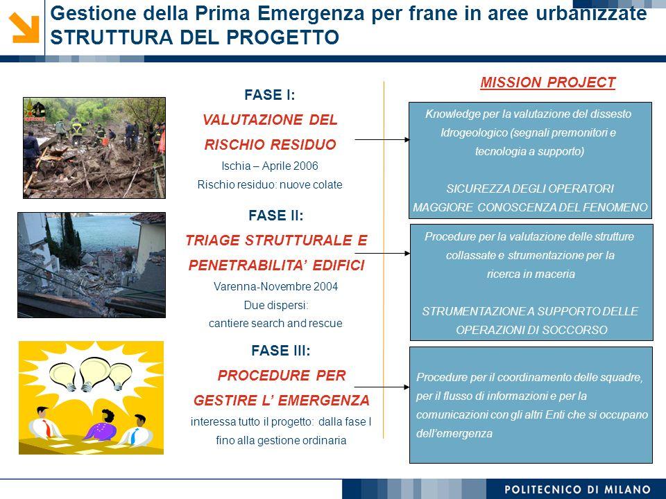 Gestione della Prima Emergenza per frane in aree urbanizzate STRUTTURA DEL PROGETTO