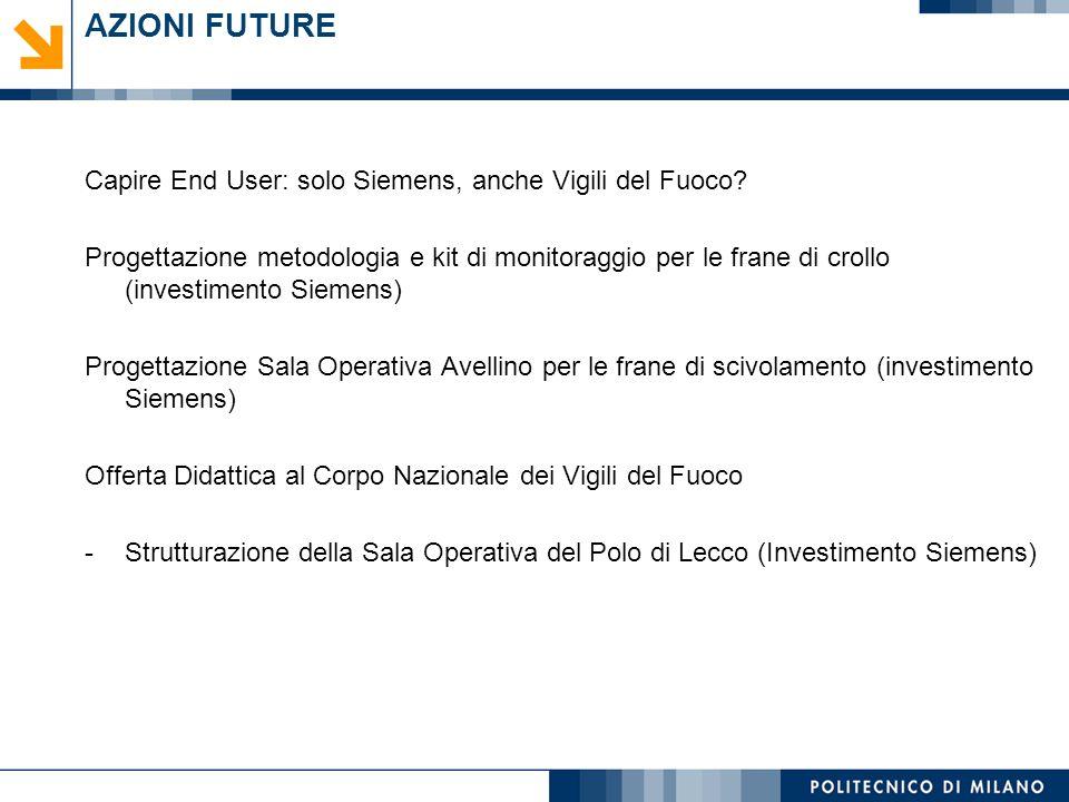 AZIONI FUTURE Capire End User: solo Siemens, anche Vigili del Fuoco