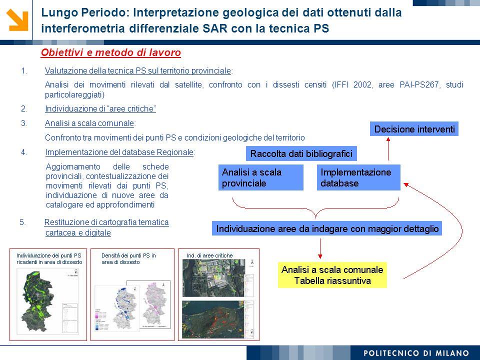 Lungo Periodo: Interpretazione geologica dei dati ottenuti dalla interferometria differenziale SAR con la tecnica PS