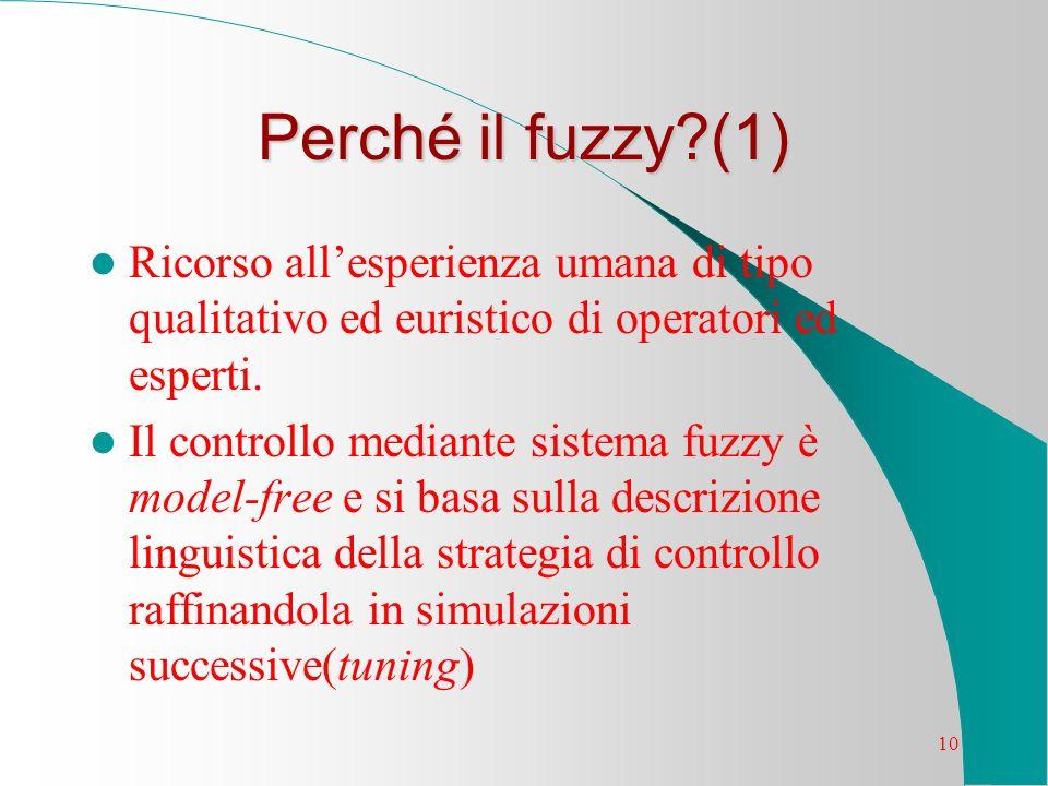 Perché il fuzzy (1) Ricorso all'esperienza umana di tipo qualitativo ed euristico di operatori ed esperti.