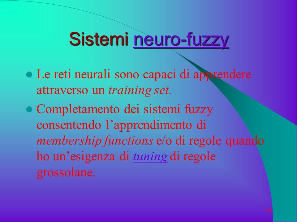 Sistemi neuro-fuzzy Le reti neurali sono capaci di apprendere attraverso un training set.