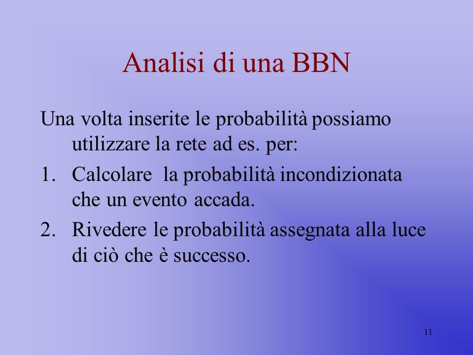 Analisi di una BBN Una volta inserite le probabilità possiamo utilizzare la rete ad es. per: