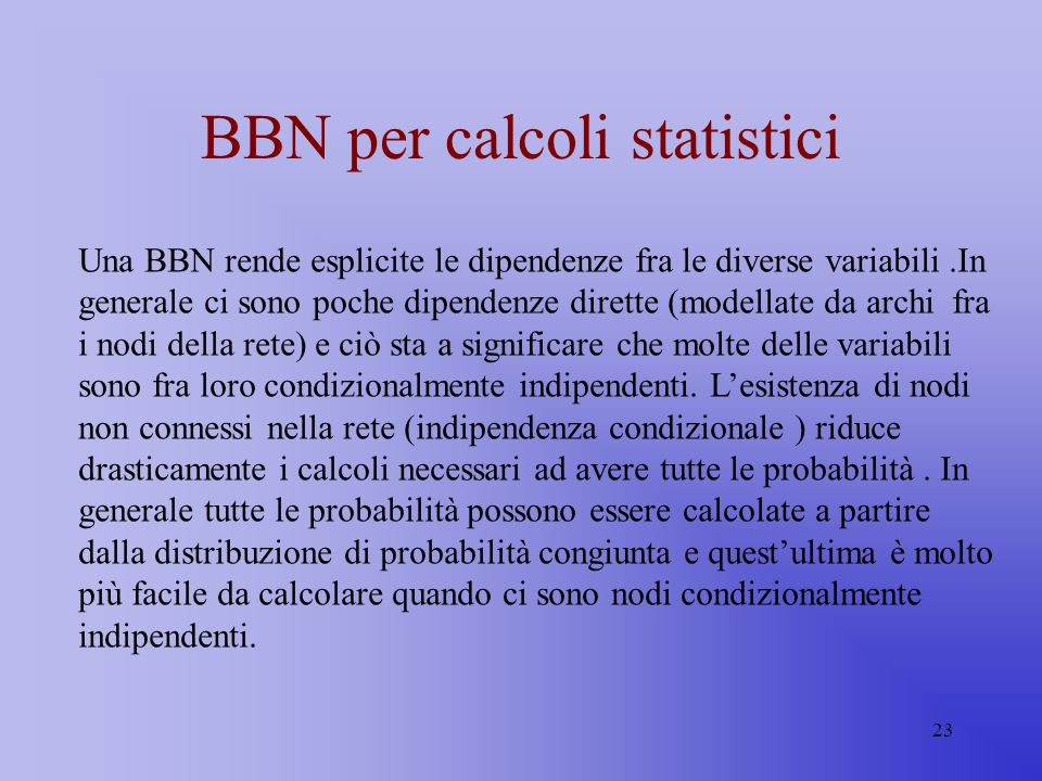 BBN per calcoli statistici