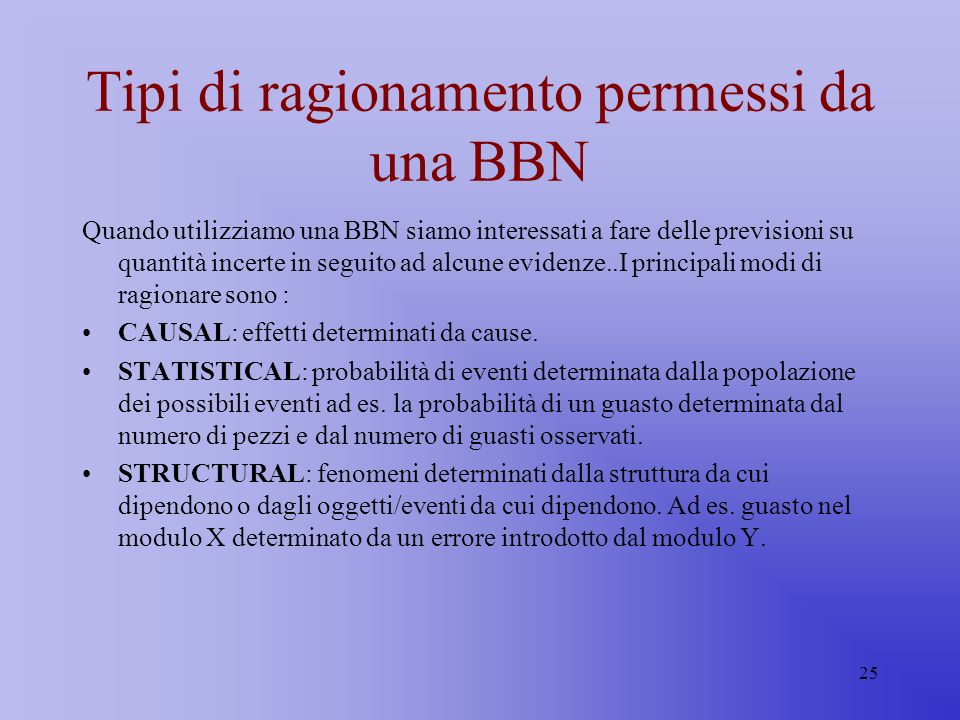 Tipi di ragionamento permessi da una BBN
