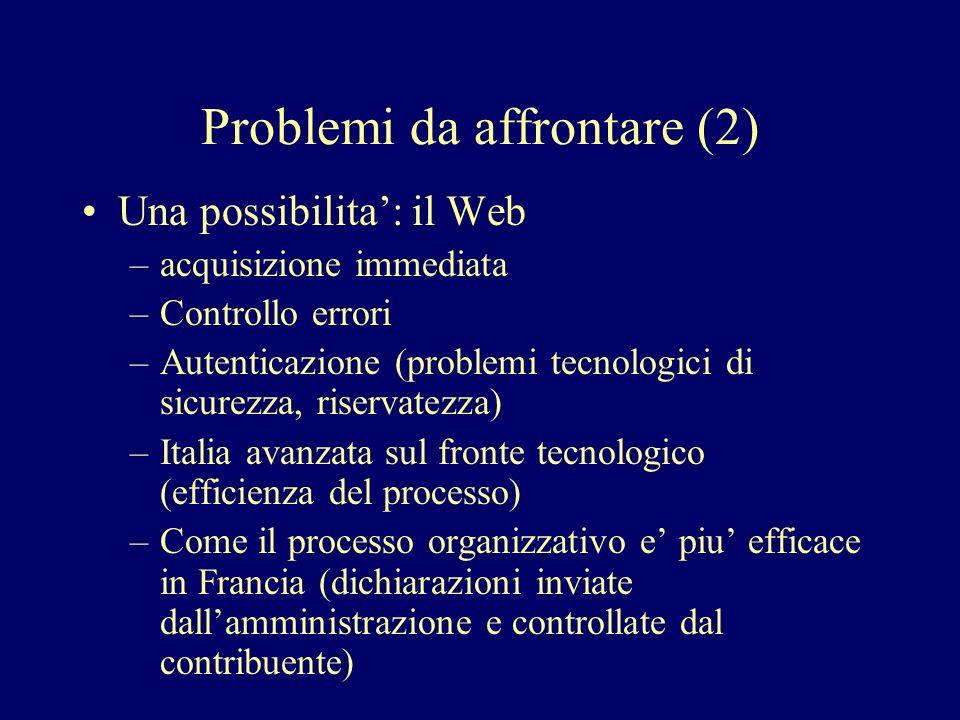 Problemi da affrontare (2)