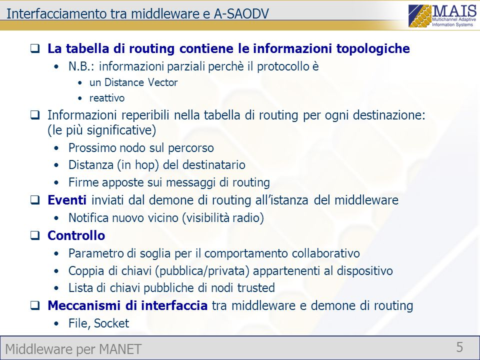 Interfacciamento tra middleware e A-SAODV
