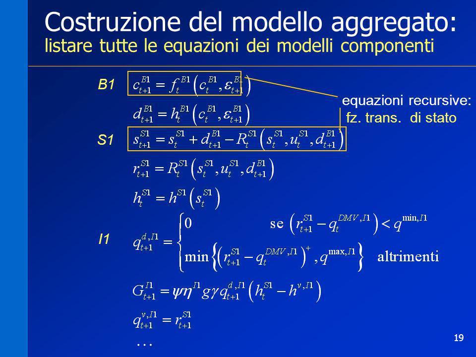 Costruzione del modello aggregato: listare tutte le equazioni dei modelli componenti
