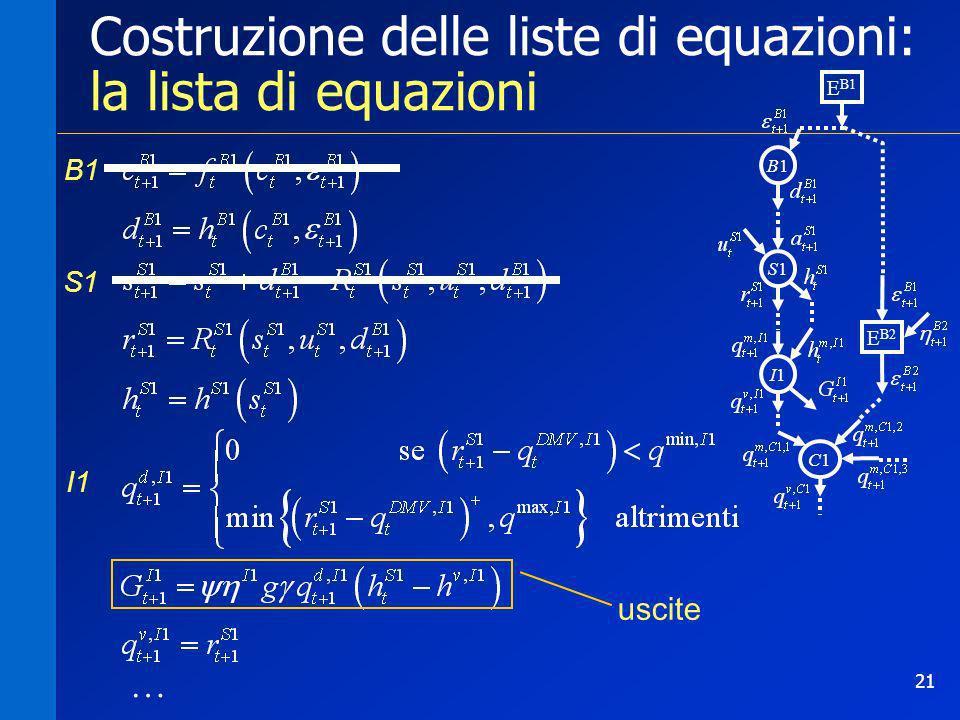Costruzione delle liste di equazioni: la lista di equazioni
