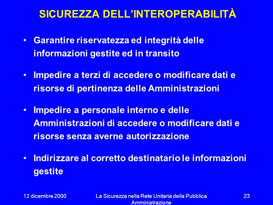 SICUREZZA DELL'INTEROPERABILITÀ