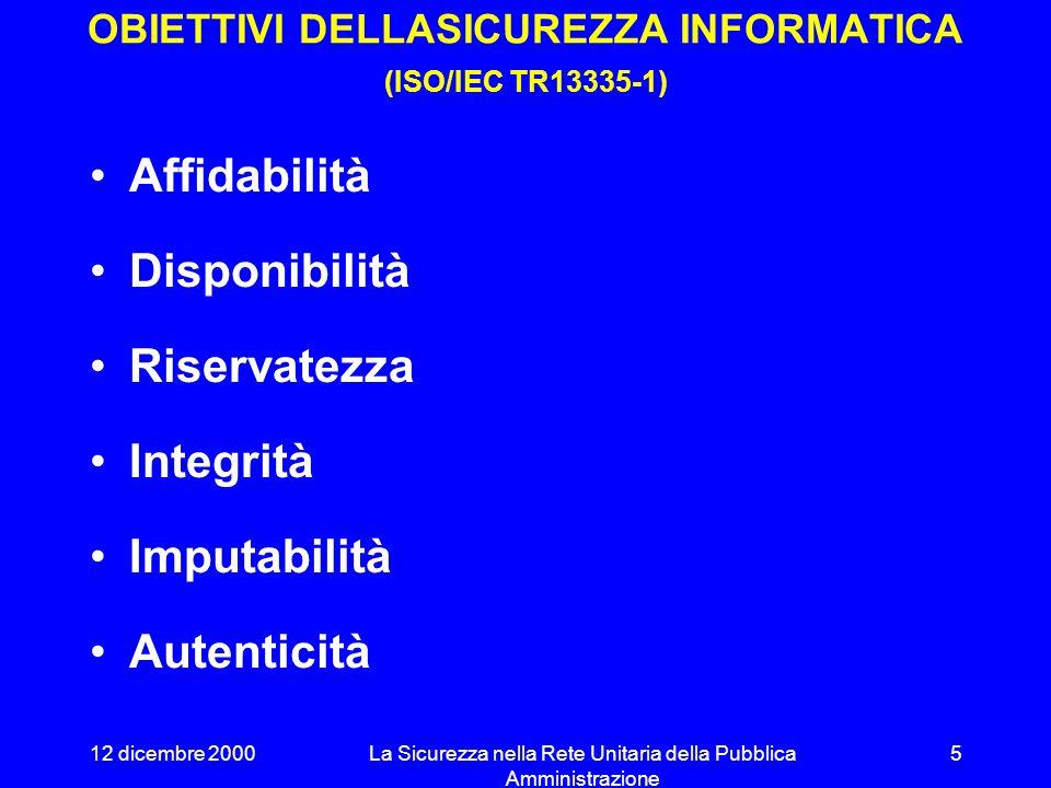 OBIETTIVI DELLASICUREZZA INFORMATICA (ISO/IEC TR13335-1)