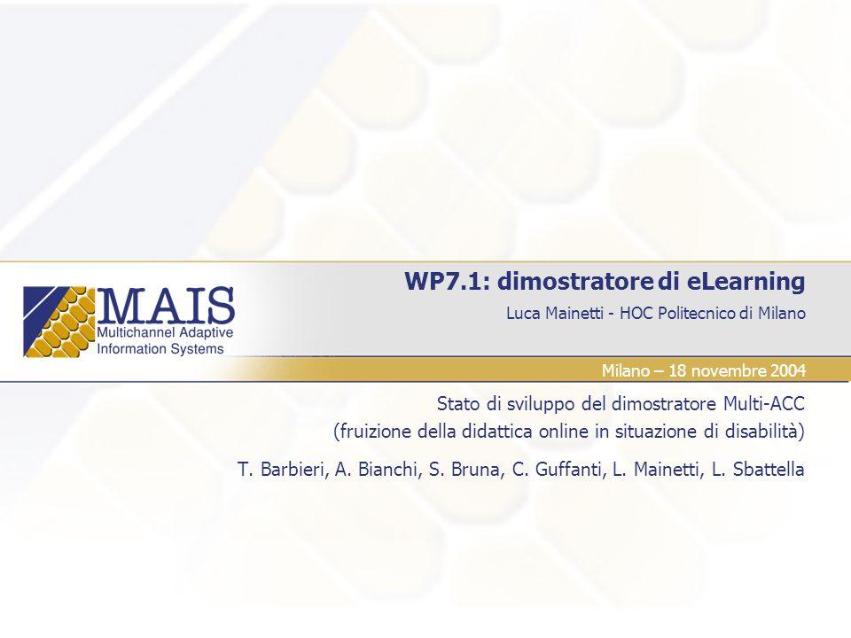 WP7.1: dimostratore di eLearning