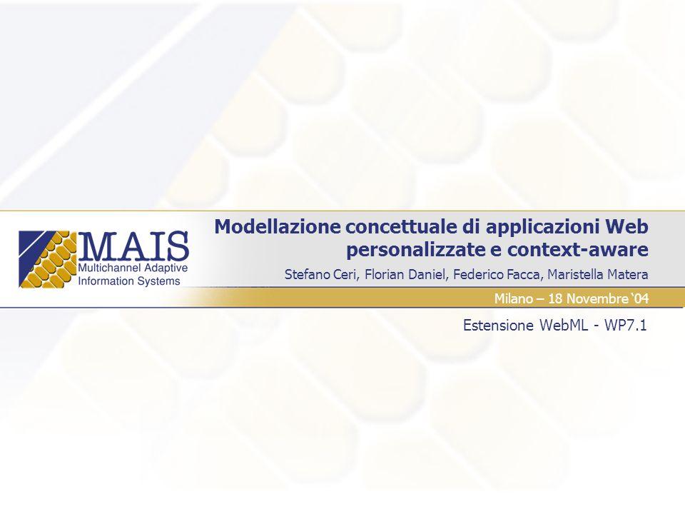 Modellazione concettuale di applicazioni Web personalizzate e context-aware