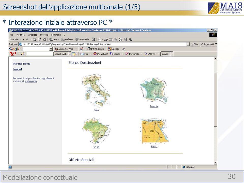 Screenshot dell'applicazione multicanale (1/5)
