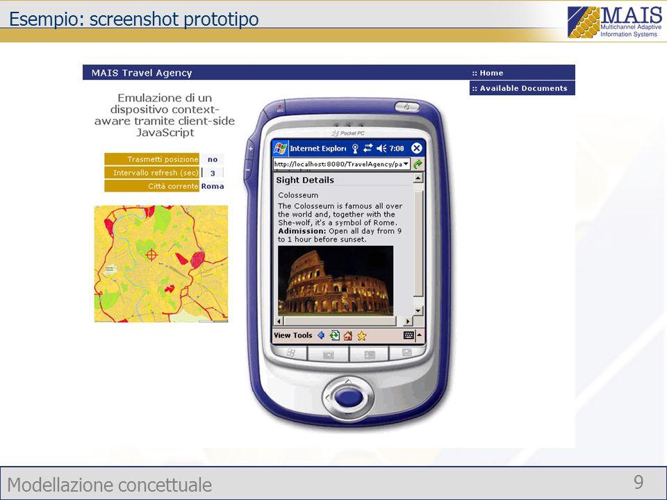 Esempio: screenshot prototipo
