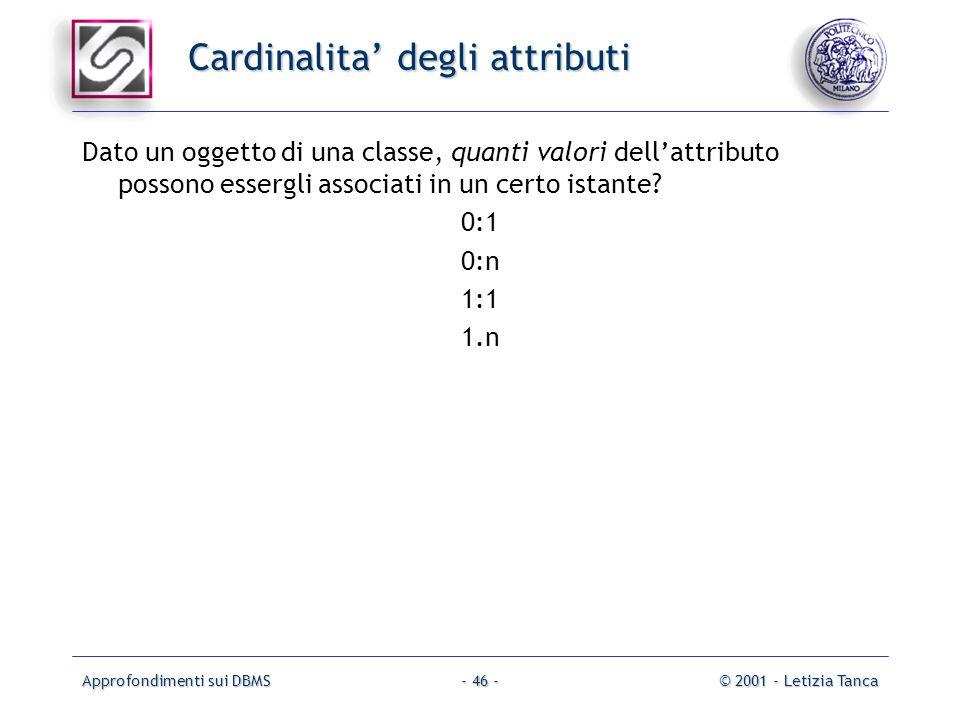 Cardinalita' degli attributi