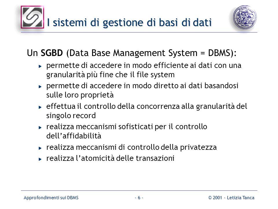 I sistemi di gestione di basi di dati