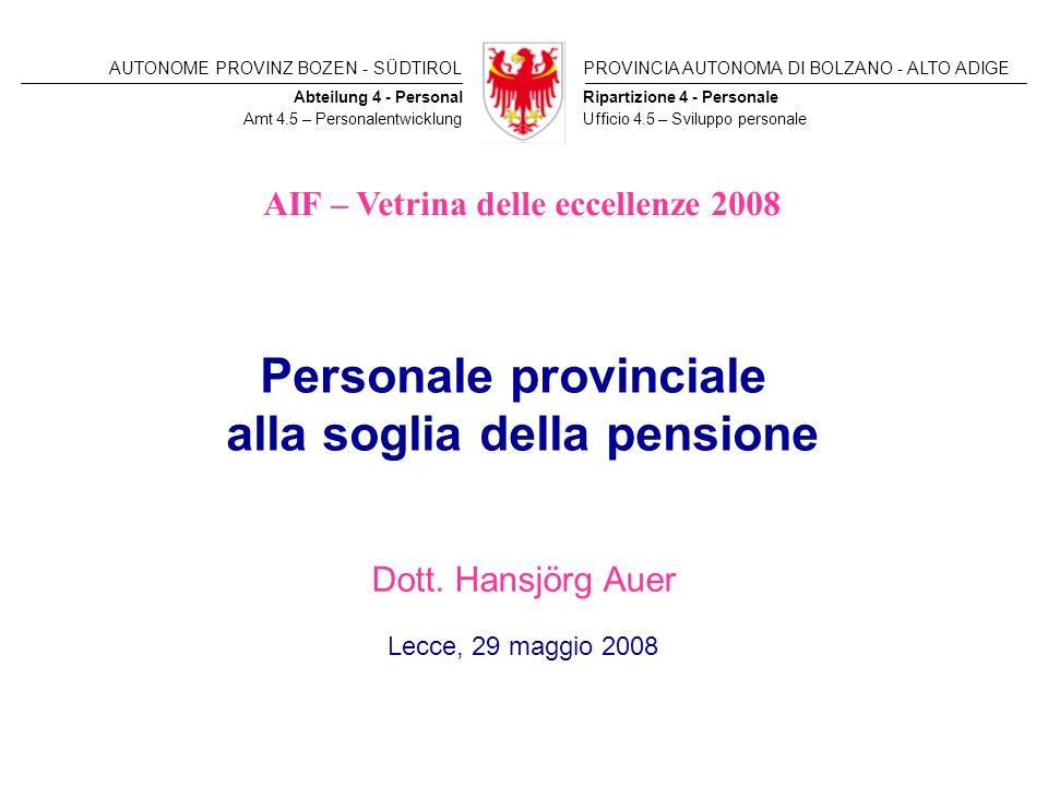 Personale provinciale alla soglia della pensione