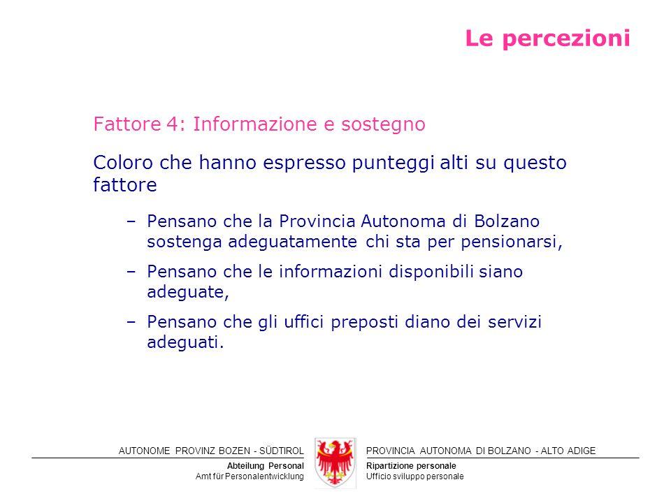 Le percezioni Fattore 4: Informazione e sostegno