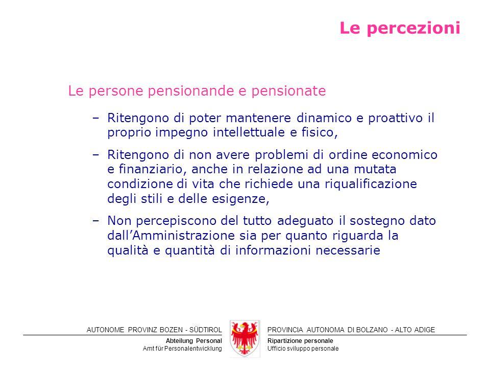 Le percezioni Le persone pensionande e pensionate