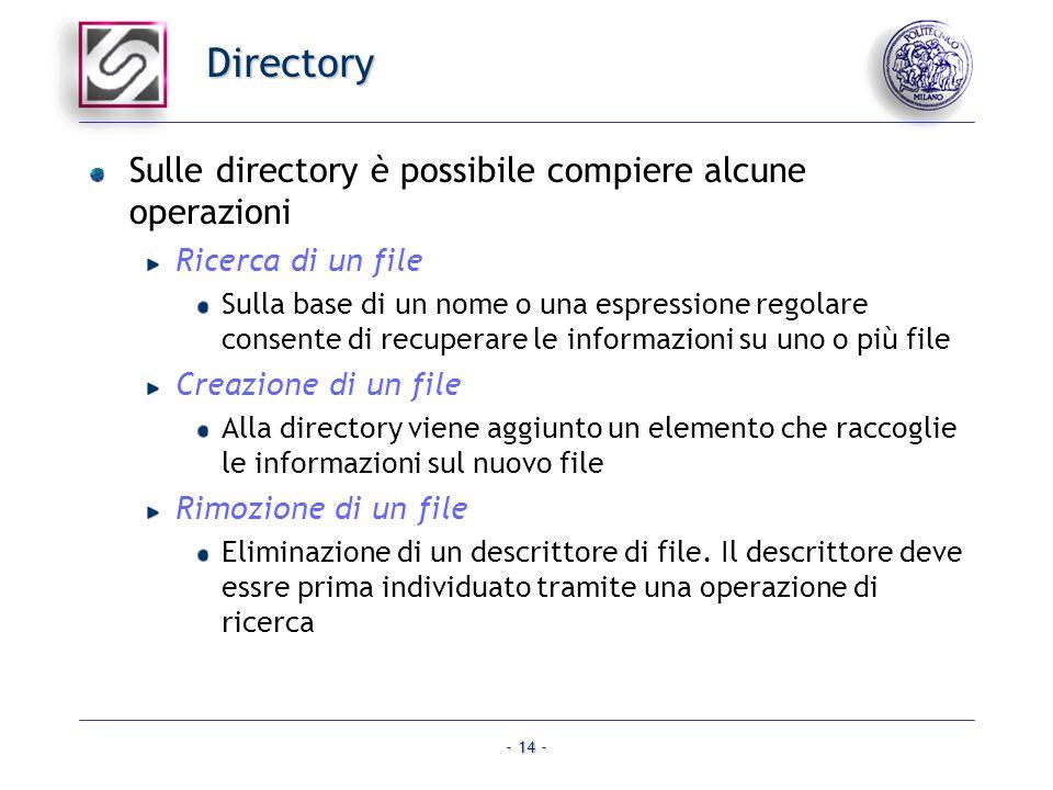 Directory Sulle directory è possibile compiere alcune operazioni