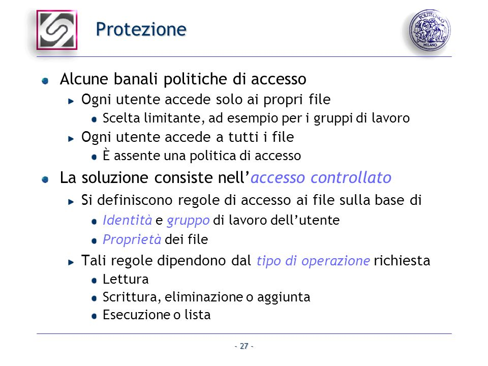 Protezione Alcune banali politiche di accesso