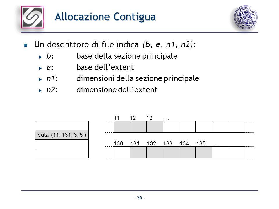 Allocazione Contigua Un descrittore di file indica (b, e, n1, n2):