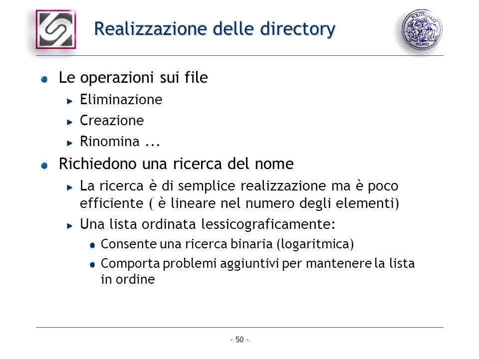 Realizzazione delle directory