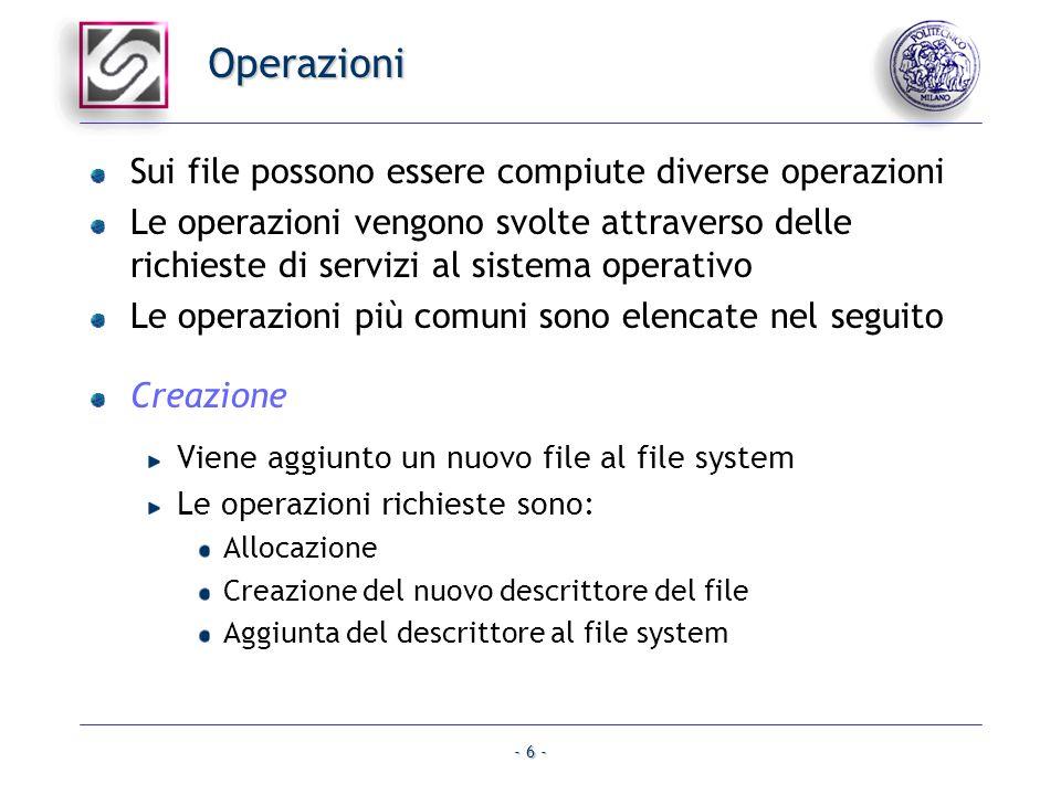 Operazioni Sui file possono essere compiute diverse operazioni