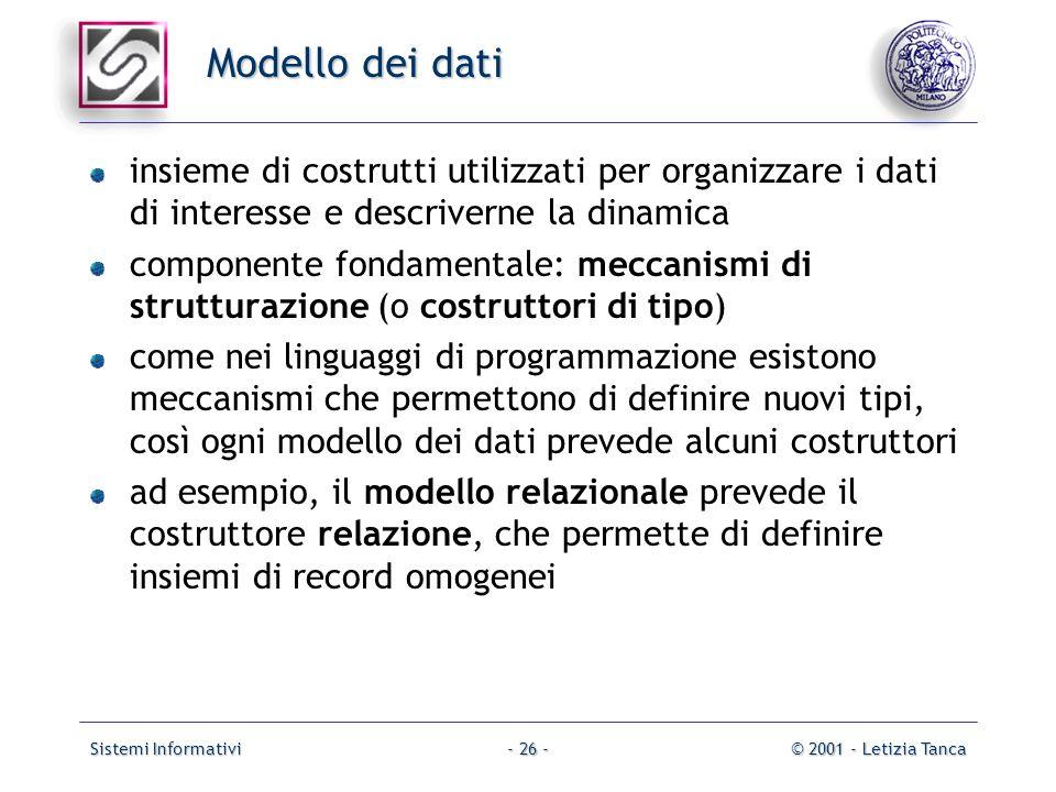 Modello dei datiinsieme di costrutti utilizzati per organizzare i dati di interesse e descriverne la dinamica.